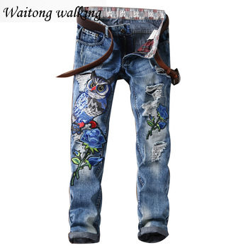 2017 Spring Men Fashion Denim Pants embroidery straight Vintage Washing Jeans Plus Size 29-38 Boy trousers Homme 55