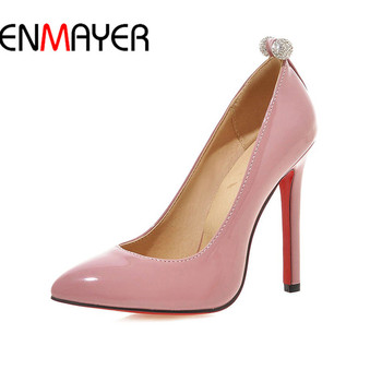 ENMAYER High Heel Shoe Slip-On Women Sexy Mature Shoe Lady Ponted Toe 11cm 34-43 Sweet Spring Shoe Leisure Black Red Pink Shoe