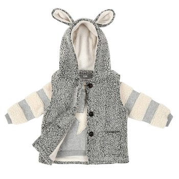 Winter Baby Boy Grey Sleeveless Down Outerwear & Stripes Stitching Sweater For Kids 2pcs
