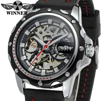 WRG8027M3T6 whole sale Winner Automatic skeleton original watch for men with black silicone band with gift box