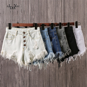 Women Shorts denim Straight 2017 Pockets Summer mid waisted vintage ripped Elastic Jeans AIDAYOU ouc574