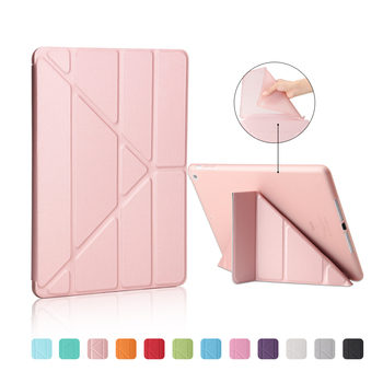 For New Ipad 9.7 2017 Smart PU Leather 4 Shapes Stand case+Soft TPU Silicone Bottom For New Ipad 9.7 cover Auto Sleep/Wake up