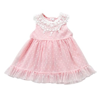 Summer New Princess Baby Girls Lace Dress Summer Pink Sleeveless Mini Vestido Mesh White Party Dresses Costume