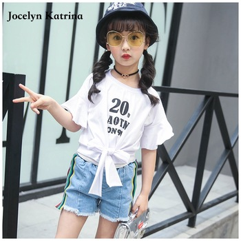 Jocelyn Katrina Summer Girl Clothes 2017 Fashion Kids Clothing Set Cotton Half Sleeve t shirt+Shorts Toddler Girls