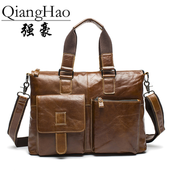 QiangHao 2017 top cow genuine leather versatile casual shoulder men messenger bags for men soild and zipper