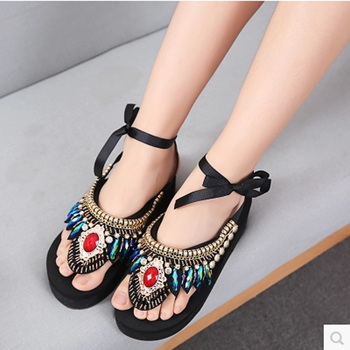 Summer Shoes Women 2017 New National Women Sandals Bohemia Beaded Wedge Gladiator Sandals Women High Heels schoenen vrouw