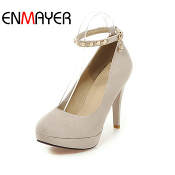 ENMEYER Classic High Heels Shoe Super High10.5cm Shoe Spring Shallow Super Heel Round Toe Black Red Pink Blue Shoe Platform34-43