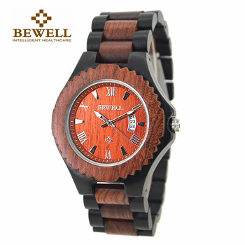 BEWELL Newest Men's Original Luxury Wood Watches Round Case Date Display Quartz Wooden Wrist Watch Relogio Masculino 129A