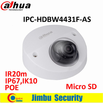 Original Dahua 4MP IR Mini Dome Network Camera IR20m IP67 POE Micro SD memory CCTV camera IPC-HDBW4431F-AS