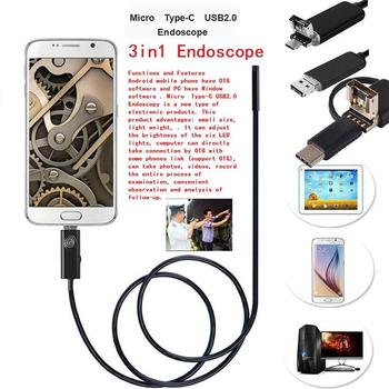 7mm 3.5M 6LED Type C USB Android Endoscope Inspection Camera Micro USB Flexible Borescope Snake Pipe For Android Windows